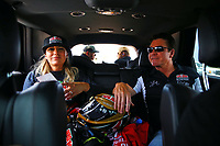 Apr 22, 2017; Baytown, TX, USA; NHRA top fuel driver Leah Pritchett (left) with Papa John's pizza founder John Schnatter during qualifying for the Springnationals at Royal Purple Raceway. Mandatory Credit: Mark J. Rebilas-USA TODAY Sports