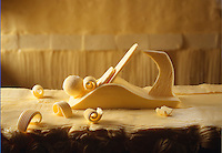 Butter sculpture of a wood plane - butter curler