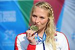 IPC European Athletics Championship 2014<br /> Swansea University<br /> <br /> Medal ceremony: Women's 800m T53.  Gold medal Samantha Kinghorn (GBR)<br /> <br /> 22.08.14<br /> Chris Vaughan-SPORTINGWALES