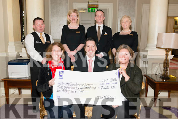 Charity Bunny Hop Afternoon Tea: Brian Scally from The Malton Hotel presenting a cheque for €2250 to Down Syndrome Kerry represented by Rachel Fitzgerald (chair person of Down Syndrome Kerry) and Sarah Kelleher (secretary of Down Syndrome Kerry). Pictured with L-R Artur Baran, Eamer Corridan, Gary Mills and Mary MacMonagle (all from The Malton Hotel) last Monday.