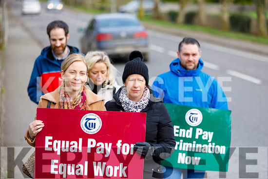 Staff of Coláiste Gleann Li on strike on Tuesday