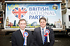 British National Party election manifesto launch for the May 3 London Assembly elections in East London, Great Britain <br /> 9th April 2012 <br /> <br /> <br /> Carlos Cortiglia <br /> mayor of London candidate for the BNP <br /> <br /> Nick Griffin - chairman / leader of the BNP <br /> <br /> <br /> <br /> Photograph by Elliott Franks