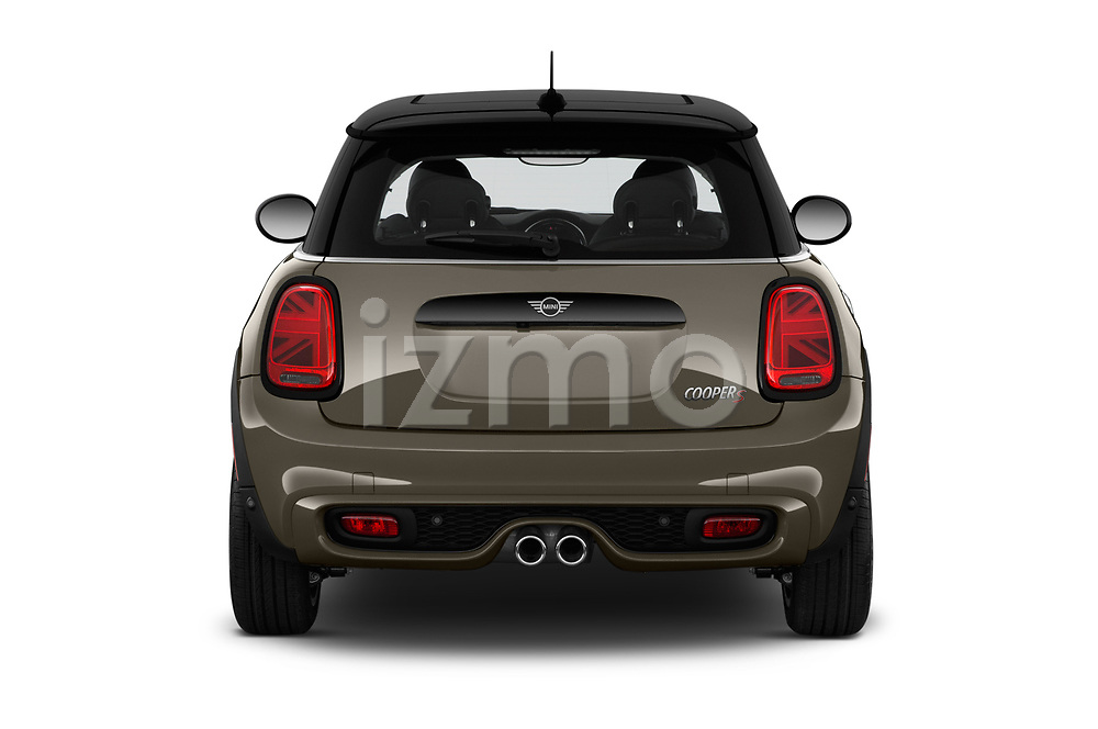 Straight rear view of a 2019 Mini Hardtop 2 Door Cooper S Signature 3 Door Hatchback stock images
