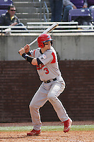 Stony Brook Seawolves catcher Pat Cantwell #3 at bat during a game against the East Carolina University Pirates at Clark-LeClair Stadium  on March 4, 2012 in Greenville, NC.  East Carolina defeated Stony Brook 4-3. (Robert Gurganus/Four Seam Images)