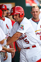 Pete Kozma (5) after hitting a home run April 20th, 2010; Midland Texas Rockhounds vs The Springfield Cardinals at Hammons Field in Springfield Missouri.  The Cardinals won in the 9th inning breaking a 1-1 tie.