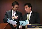Nevada Senate Secretary David Byerman, left, and Lt. Gov. Brian Krolicki work on the Senate floor at the Legislative Building in Carson City, Nev., on Wednesday, May 22, 2013. <br /> Photo by Cathleen Allison