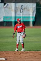 Jose Verrier (12) of the Orem Owlz on defense against the Ogden Raptors at Lindquist Field on June 22, 2019 in Ogden, Utah. The Owlz defeated the Raptors 7-4. (Stephen Smith/Four Seam Images)