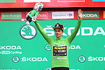 Race leader Primoz Roglic (SLO) Team Jumbo-Visma also retains the points Green Jersey at the end of Stage 17 of La Vuelta 2019, the fastest stage ever in the history of Grand Tours at 50.6km/h, running 219.6km from Aranda de Duero to Guadalajara, Spain. 11th September 2019.<br /> Picture: Luis Angel Gomez/Photogomezsport | Cyclefile<br /> <br /> All photos usage must carry mandatory copyright credit (© Cyclefile | Luis Angel Gomez/Photogomezsport)