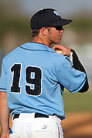 SCF Manatees outfielder Dustin Johnson #19 during a game vs. Indian River State College at Robert C. Wynn Field in Bradenton, Florida;  February 22, 2011.  SCF defeated Indian River 3-0.  Photo By Mike Janes/Four Seam Images
