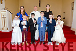 The pupils from Scoil Dar Earca Chapletown, Valentia who made their First Holy Communion on Saturday in the Church of St Dorarca and St Teresa pictured here front l-r; Casey Shanahan, Kian Morrissey, James Cooper, Cian O'Sullivan, Seamus Lyne, Gemma O'Donoghue, back l-r; Geraldine Keating, Fr. Larry Kelly & Emma O'Connor.