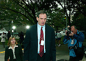 "Washington, DC - October 28, 2005 -- Special Counsel Patrick J. Fitzgerald, who is investigating Vice President Dick Cheney's chief of staff, I. Lewis ""Scooter"" Libby, President Bush's top political adviser Karl Rove, and others involved in the illegal disclosure of undercover Central Intelligence Agency (CIA) officer Valerie Plame's identity, arrives at the United States District Court in Washington, DC, on October 28, 2005. The possibility of Libby or Rove being indicted is a hot topic in the capital..Credit: Ron Sachs / CNP.(RESTRICTION: NO New York or New Jersey Newspapers or newspapers within a 75 mile radius of New York City)"