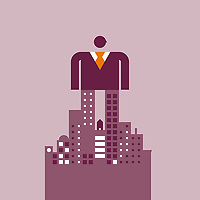Large businessman standing on abstract cityscape ExclusiveImage ExclusiveArtist