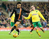 31st October 2017, Carrow Road, Norwich, England; EFL Championship football, Norwich City versus Wolverhampton Wanderers; Wolverhampton Wanderers forward Helder Costa battles with Norwich City midfielder James Maddison