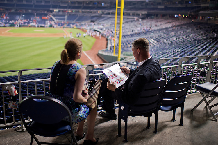 UNITED STATES - JUNE 11: Rep. Steve Stivers, R-Ohio, and his chief of staff Courtney Whetstone, attend the 54th Congressional Baseball Game in Nationals Park, June 11, 2015. The Democrats prevailed over the Republicans 5-2. (Photo By Tom Williams/CQ Roll Call)