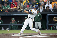 Michigan Wolverines first baseman Jake Bivens (18) swings the bat against the Michigan State Spartans on May 19, 2017 at Ray Fisher Stadium in Ann Arbor, Michigan. Michigan defeated Michigan State 11-6. (Andrew Woolley/Four Seam Images)