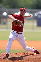 St. Louis Cardinals minor league pitcher John Gast delivers a pitch during a spring training game vs the New York Mets at the Roger Dean Sports Complex in Jupiter, Florida;  March 24, 2011.  Photo By Mike Janes/Four Seam Images