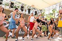 LAS VEGAS, NV - APRIL 29: Rob Gronkowski and Mojo Rawley perform with Flo Rida at Rehab at The Hard Rock Hotel & Casino in Las Vegas, Nevada on April 29, 2017. Credit: GDP Photos/MediaPunch