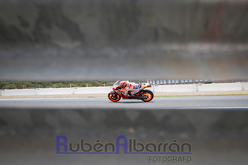 Marc Marquez during the free practice in Motorcycle Championship GP, in Jerez, Spain. April 22, 2016