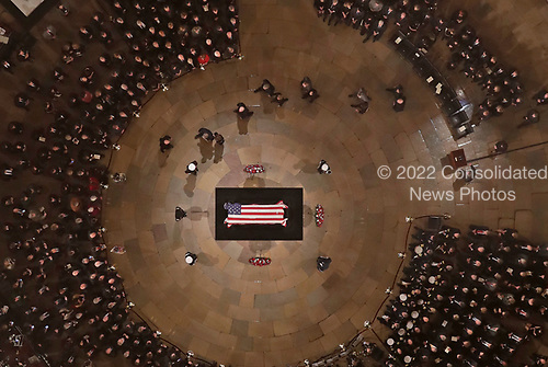 They Bush family walks past as Former President George H. W. Bush lies in state in the U.S. Capitol Rotunda Monday, Dec. 3, 2018, in Washington. (Pool photo by Morry Gash via AP)