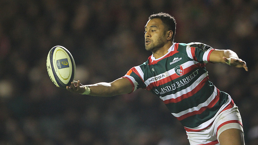 Leicester Tigers' Telusa Veainu<br /> <br /> Photographer Rachel Holborn/CameraSport<br /> <br /> Rugby Champions Cup Pool 1 - Leicester Tigers v Racing 92 - Sunday 23rd October 2016 - Welford Road - Leicester<br /> <br /> World Copyright &copy; 2016 CameraSport. All rights reserved. 43 Linden Ave. Countesthorpe. Leicester. England. LE8 5PG - Tel: +44 (0) 116 277 4147 - admin@camerasport.com - www.camerasport.com