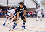 DELFT - Joppe de Minjer tijdens de zaalhockey hoofdklasse competitiewedstrijd HDM-KAMPONG (7-8). COPYRIGHT KOEN SUYK