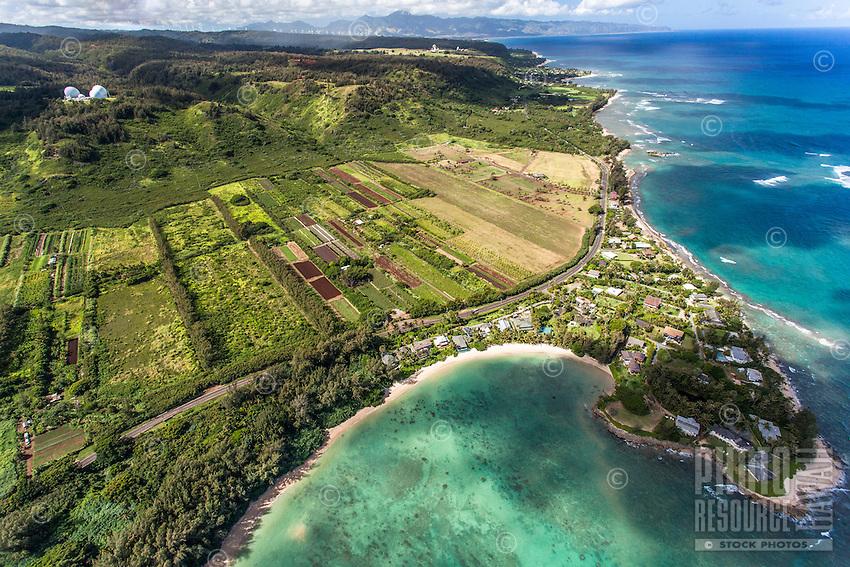 An aerial view of Kawela Bay and its beach park, North Shore, O'ahu.
