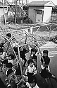 October 1964: Children playing in kindergarten playground during the Showa period. (Photo by Katsuro Okazawa/AFLO)