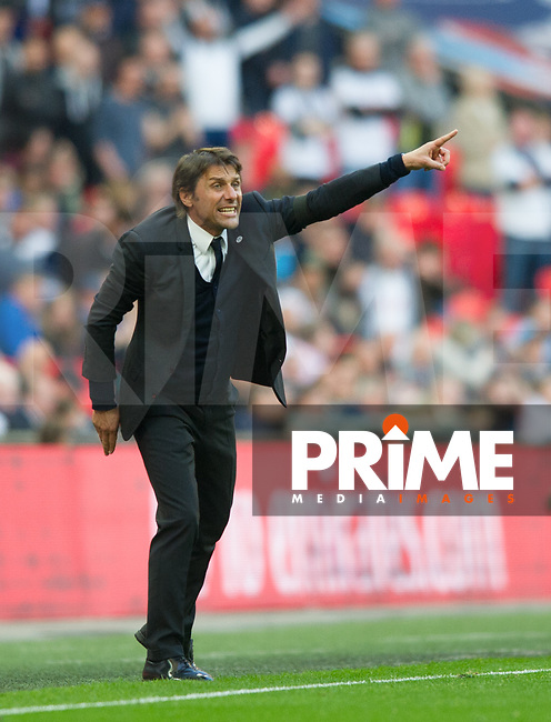 Chelsea's manager Antonio Conte during the FA Cup Semi Final match between Chelsea and Tottenham Hotspur at Wembley Stadium, London, England on 22 April 2017. Photo by Andrew Aleksiejczuk / PRiME Media Images.