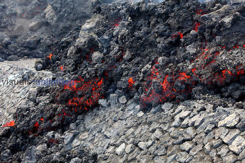 Aa lava flow from eruption of Fogo Volcano crossing a road, Cape Verde