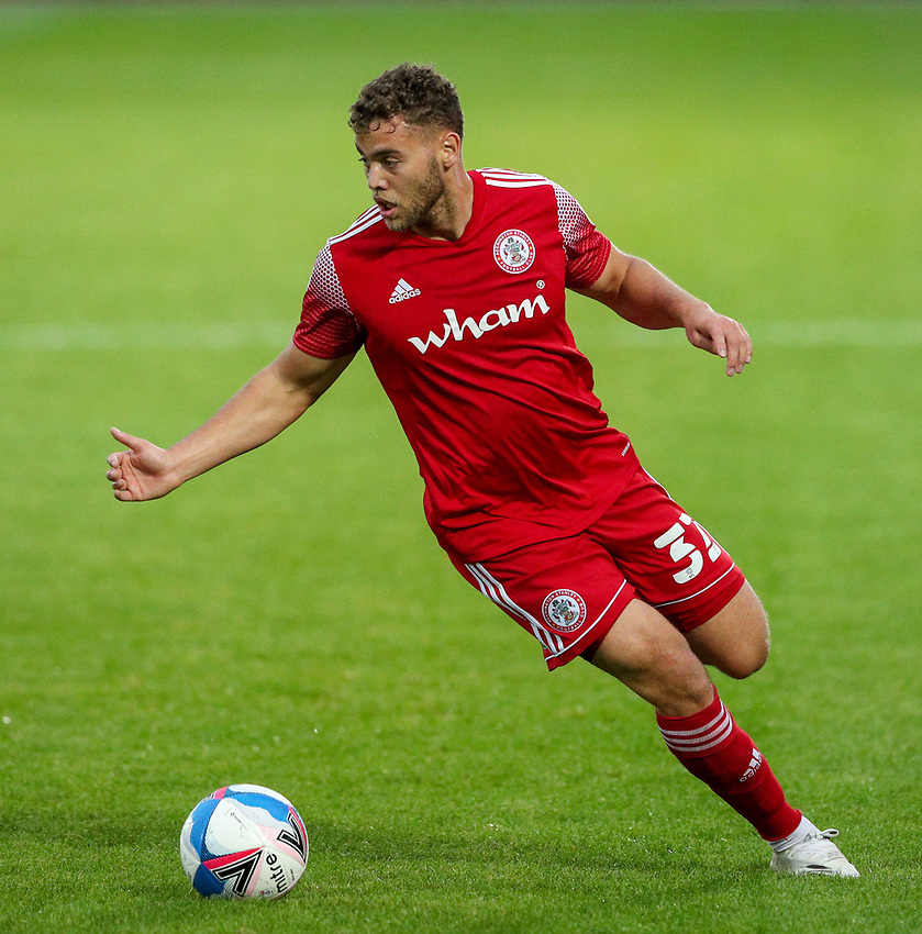 Accrington Stanley's Dion Charles<br /> <br /> Photographer Alex Dodd/CameraSport<br /> <br /> EFL Trophy Northern Section Group G - Accrington Stanley v Leeds United U21 - Tuesday 8th September 2020 - Crown Ground - Accrington<br />  <br /> World Copyright © 2020 CameraSport. All rights reserved. 43 Linden Ave. Countesthorpe. Leicester. England. LE8 5PG - Tel: +44 (0) 116 277 4147 - admin@camerasport.com - www.camerasport.com