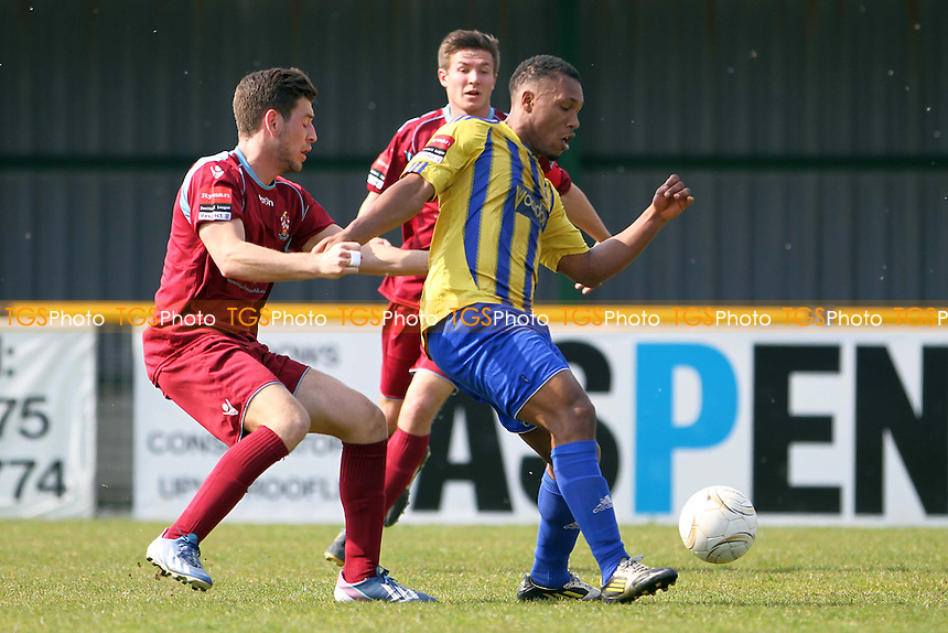 Ryan Imbert (Romford)  with the ball - Romford vs Brentwood Town - Ryman League Division One North Football at Ship Lane, Thurrock FC - 21/04/14 - MANDATORY CREDIT: Mick Kearns/TGSPHOTO - Self billing applies where appropriate - 0845 094 6026 - contact@tgsphoto.co.uk - NO UNPAID USE