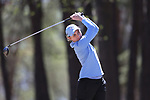 BROWNS SUMMIT, NC - APRIL 01: North Carolina's Lexi Harkins tees off on the 2nd hole. The second round of the Bryan National Collegiate Women's Golf Tournament was held on April 1, 2017, at the Bryan Park Champions Course in Browns Summit, NC.