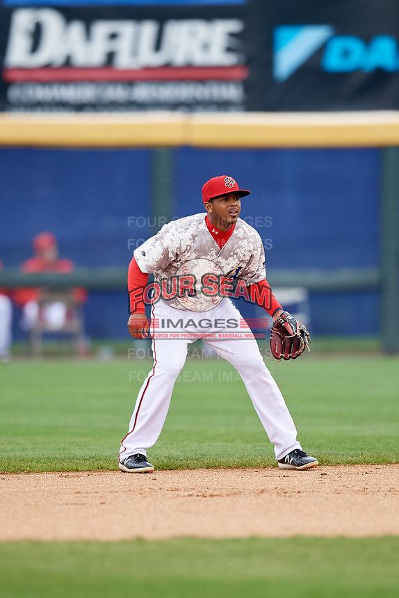 Harrisburg Senators second baseman Kayyan Norfork (15) during the second game of a doubleheader against the New Hampshire Fisher Cats on May 13, 2018 at FNB Field in Harrisburg, Pennsylvania.  Harrisburg defeated New Hampshire 2-1.  (Mike Janes/Four Seam Images)