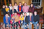 PARTY ON THE DOUBLE: Twins Michael and Francie Brosnan (Castleisland) who celebrated their 40th birthdays in the Ballygarry House Hotel &amp; Spa, Tralee on Thursday evening last with their family. Front l-r: Jamie, Aidan, Michael, Ben, Francie, Eoin and Cian Brosnan. Back l-r: Maria, Charlie, Neil, Mary, Laura, Sharon, James and Christine Brosnan.<br />