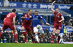 Cenk Tosun of Everton is challenged by Virgil van Dijk of Liverpool during the premier league match at Goodison Park Stadium, Liverpool. Picture date 7th April 2018. Picture credit should read: Robin Parker/Sportimage