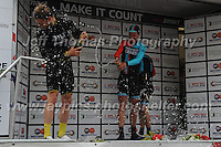 """Race winner Tom Stewart of the cycle racing team Madison Genesis opens the champagne on the rostrum after the Abergavenny Festival of Cycling """"Grand Prix of Wales"""" race on Sunday 17th 2016<br /> <br /> <br /> Jeff Thomas Photography -  www.jaypics.photoshelter.com - <br /> e-mail swansea1001@hotmail.co.uk -<br /> Mob: 07837 386244 -"""