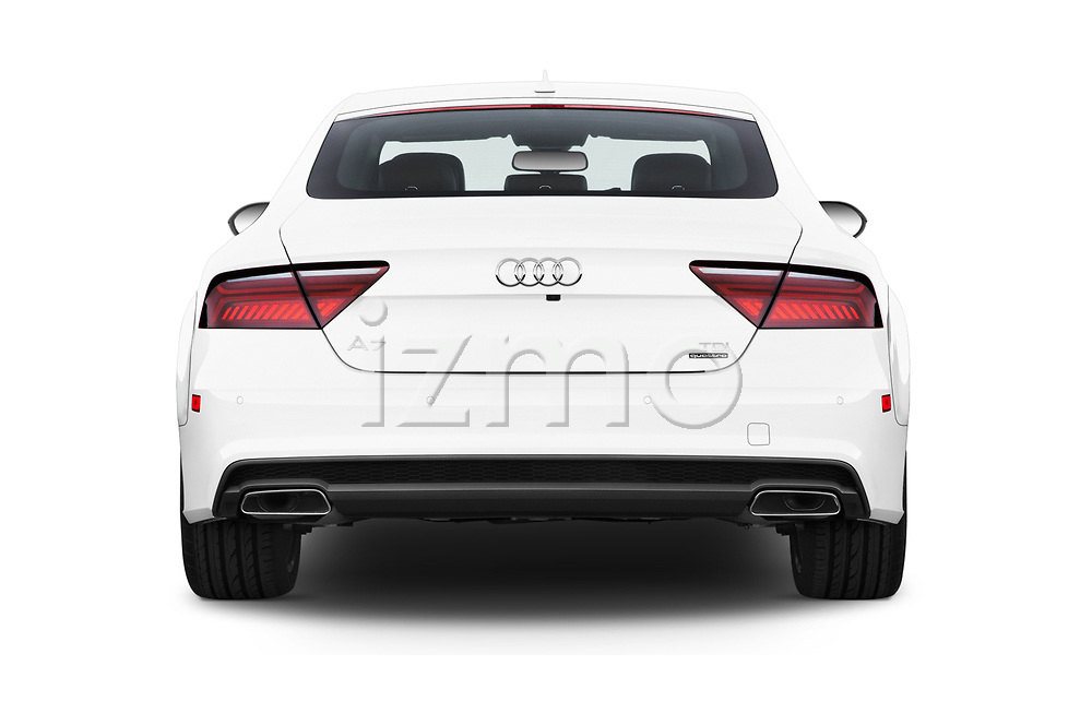 Straight rear view of 2016 Audi A7 3.0 TDI Premium Plus  4 Door Hatchback stock images