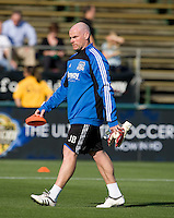 Earthquakes' goalkeeper coach Jason Batty warms up with his goalkeepers during practice before the game against Real Salt Lake at Buck Shaw Stadium in Santa Clara, California on March 27th, 2010.   Real Salt Lake defeated San Jose Earthquakes, 3-0.