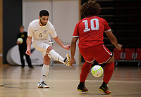 Kareem Osamn passes during the international men's futsal match between the NZ Futsal Whites and New Caledonia at Baypark Arena in Mount Maunganui, New Zealand on Thursday, 14 September 2017. Photo: Dave Lintott / lintottphoto.co.nz