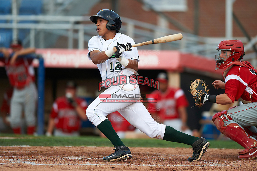 Jamestown Jammers outfielder Jesus Solorzano #12 during game two of a NY-Penn League doubleheader against the Batavia Muckdogs at Russell Diethrick Park on September 5, 2012 in Jamestown, New York.  Jamestown defeated Batavia 3-2.  (Mike Janes/Four Seam Images)