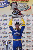 Apr 20, 2007; Avondale, AZ, USA; Nascar Busch Series driver Clint Bowyer (2) celebrates after winning the Bashas Supermarkets 200 at Phoenix International Raceway. Mandatory Credit: Mark J. Rebilas