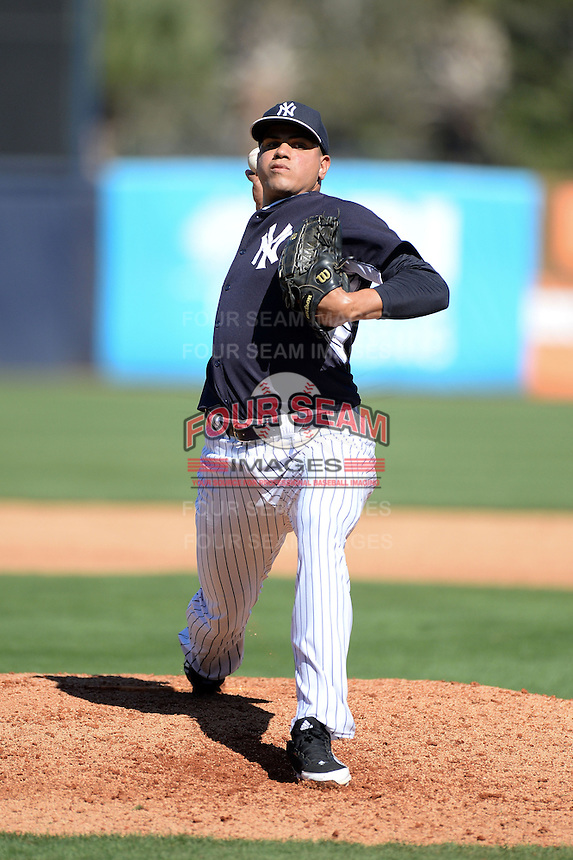 Pitcher Dellin Betances (68) of the New York Yankees during a spring training game against the Philadelphia Phillies on March 1, 2014 at Steinbrenner Field in Tampa, Florida.  New York defeated Philadelphia 4-0.  (Mike Janes/Four Seam Images)