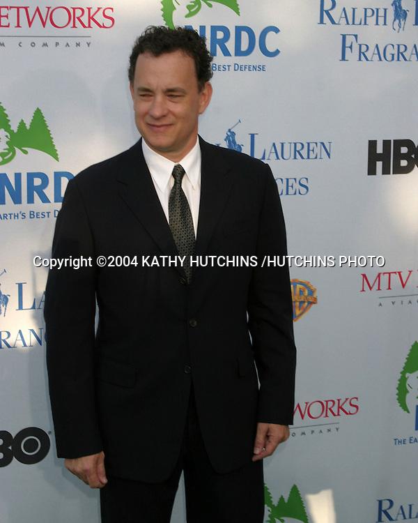 """©2004 KATHY HUTCHINS /HUTCHINS PHOTO.NRDC (NATURAL RESOU5RCES DEFENSE COUNCIL) """"EARTH TO LA"""".WESTWOOD, CA.MAY 6, 2004..TOM HANKS"""