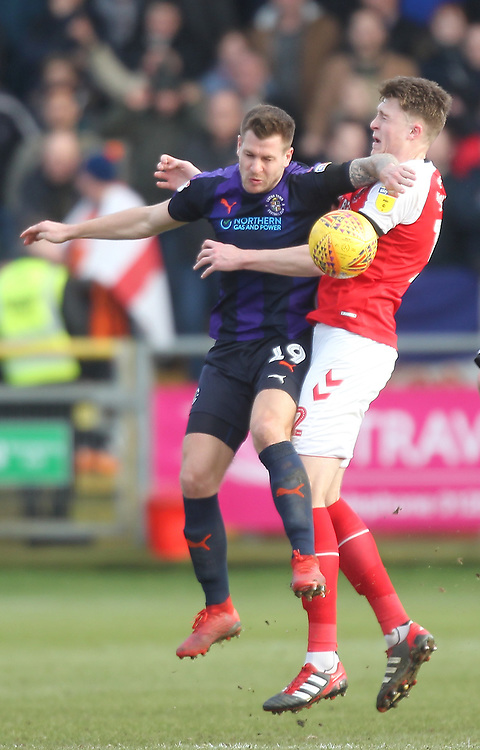 Fleetwood Town's Harry Souttar battles with Luton Town's James Collins<br /> <br /> Photographer Mick Walker/CameraSport<br /> <br /> The EFL Sky Bet League One - Fleetwood Town v Luton Town - Saturday 16th February 2019 - Highbury Stadium - Fleetwood<br /> <br /> World Copyright © 2019 CameraSport. All rights reserved. 43 Linden Ave. Countesthorpe. Leicester. England. LE8 5PG - Tel: +44 (0) 116 277 4147 - admin@camerasport.com - www.camerasport.com