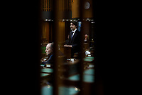 PM Trudeau pauses for a moment of silence for the victims in Nova Scotia prior to addressing the House of Commons. April 20, 2020.