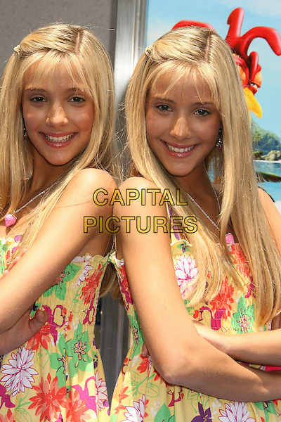 "BECKY & MILLY ROSSO.""Surf's Up"" Los Angeles Premiere held at the Mann Village Theater, Westwood, California, USA, 02 June 2007.half length twins sisters identical .CAP/ADM/RE.©Russ Elliot/AdMedia/Capital Pictures. *** Local Caption *** ."