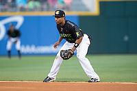 Charlotte Knights second baseman Marcus Lemon (25) on defense against the Columbus Clippers at BB&T BallPark on May 3, 2016 in Charlotte, North Carolina.  The Clippers defeated the Knights 8-3.  (Brian Westerholt/Four Seam Images)