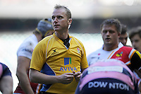 Referee Wayne Barnes during the Aviva Premiership match between London Wasps and Gloucester Rugby at Twickenham Stadium on Saturday 19th April 2014 (Photo by Rob Munro)