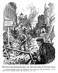 "The Piccadilly Barricades; or, the Triumph of the Red Flag. Communist spectator. ""This is where we get back on the bourgeois. If we can't pull things down we can pull 'em up!"" (cartoon showing a London street scene of digging and a sign Road CLOSED For Weeks And Weeks as a Communist looks on happily during the InterWar era)"