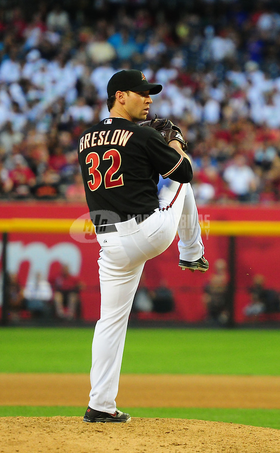 May 12, 2012; Phoenix, AZ, USA; Arizona Diamondbacks pitcher Craig Breslow throws against the San Francisco Giants at Chase Field. Mandatory Credit: Mark J. Rebilas-.